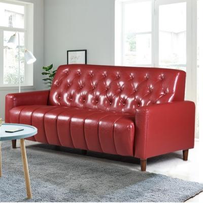 Ally愛麗-美式拿鐵-百年經典復古三人沙發175cm-三人座皮沙發-酒紅色