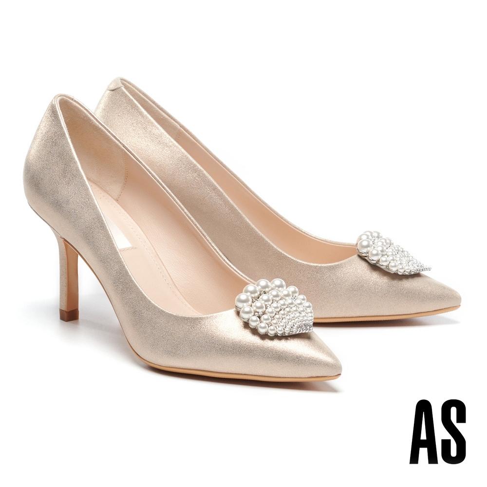 高跟鞋 AS 奢華細緻珍珠貝殼鑽飾羊麂皮美型尖頭高跟鞋-金