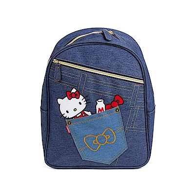 Sanrio HELLO KITTY牛仔布後背包(丹寧口袋)