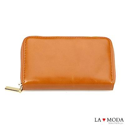 La Moda 出國旅行超安心 防盜刷防RFID偵測真皮牛皮大容量手機包護照夾長夾(棕)