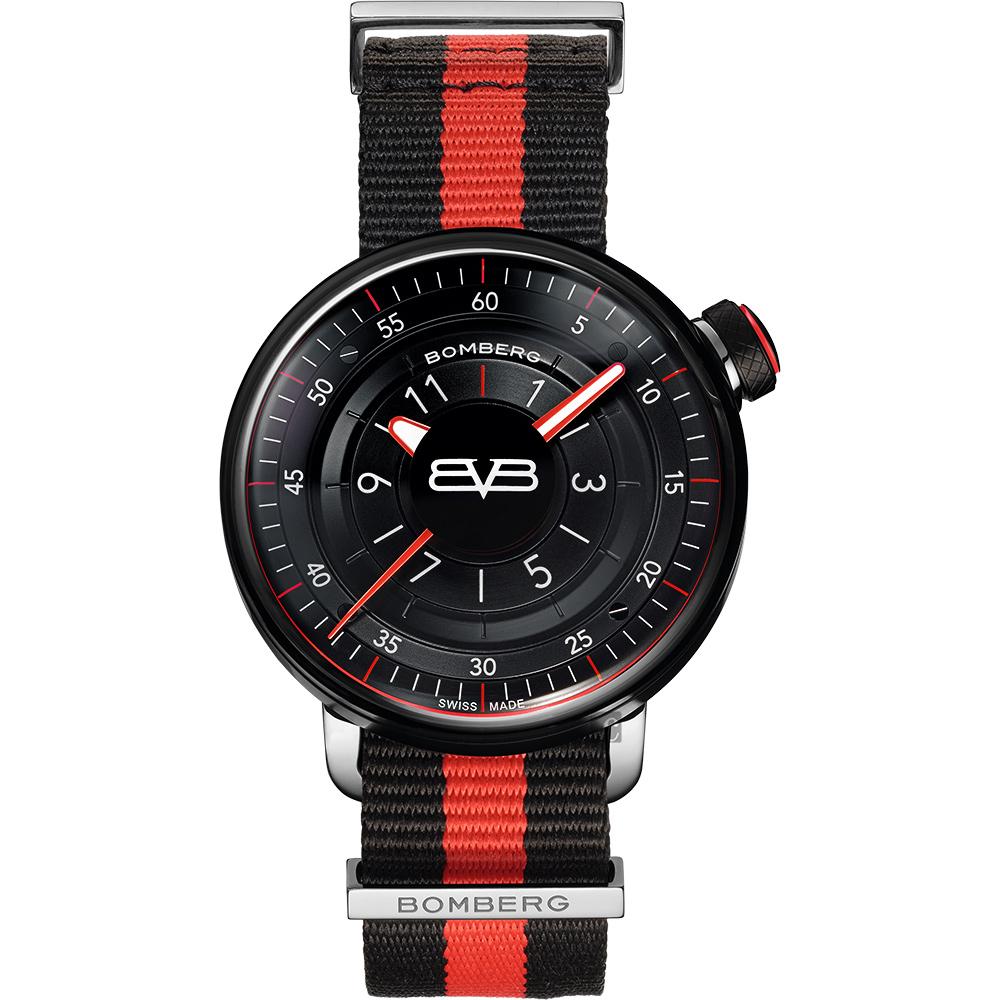 BOMBERG 炸彈錶 BB-01 帆布帶手錶-紅黑/43mm