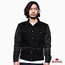 BRAPPERS 男款 牛仔夾克系列-男用彈性長袖異材質拼接外套-黑