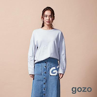 gozo 配色邊條落肩壓摺袖上衣(二色)