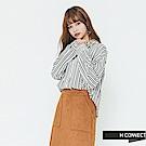 H:CONNECT 韓國品牌 女裝-質感條紋配色襯衫-綠