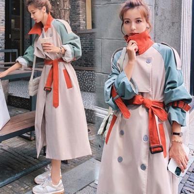 【韓國K.W.】(預購)英倫風撞色寬鬆長版風衣外套