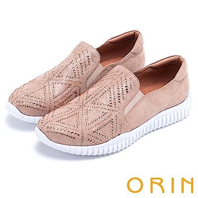 ORIN 時尚渡假風 幾何燙鑽厚底休閒鞋-粉色