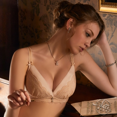 LADY 夢幻天使系列 蕾絲無鋼圈調整型內衣 B-F罩(粉金膚)