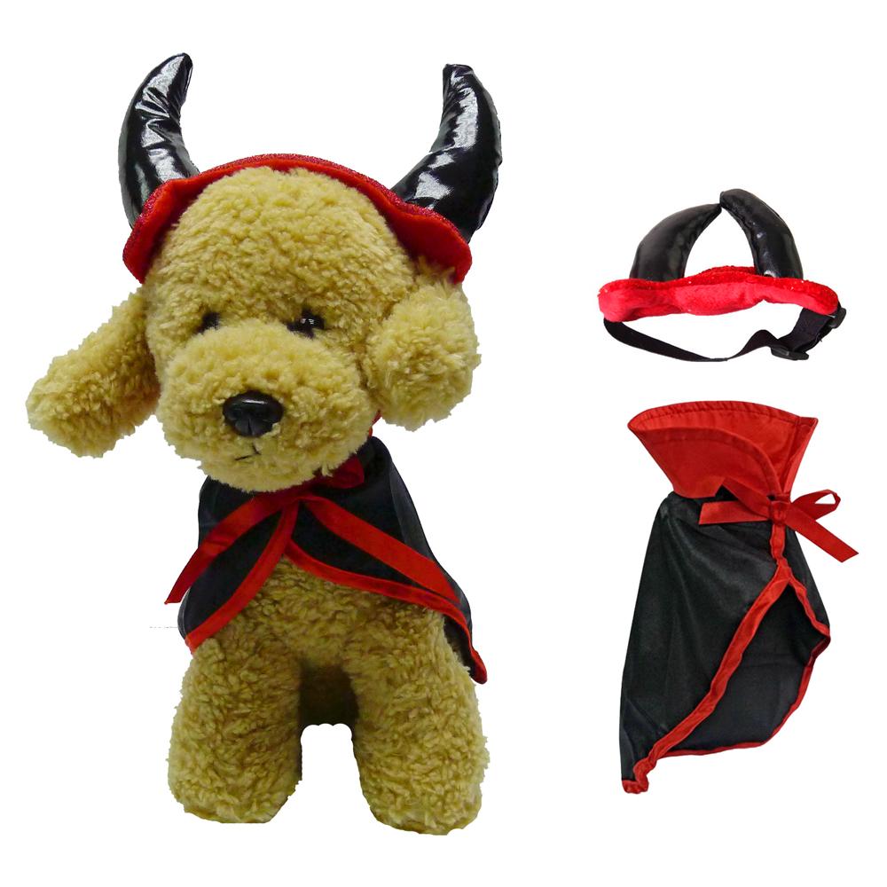 摩達客 寵物萬聖節派對-牛角牛魔王吸血鬼披風套組(一牛角頭飾+吸血鬼小披風)