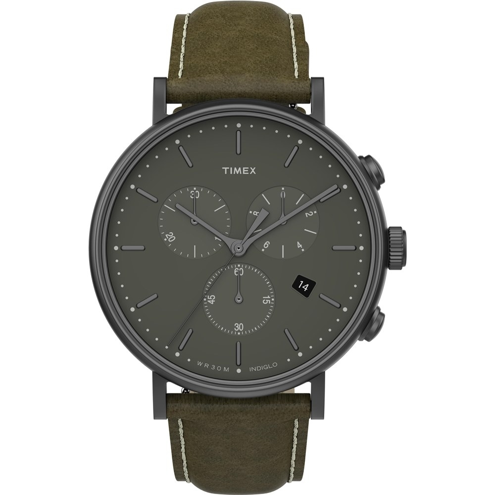 TIMEX Fairfield Chrono 時尚三眼計時手錶-橄欖綠/41mm