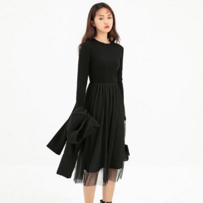 連身裙 開叉拼接網紗長袖洋裝RW9131-創翊韓都