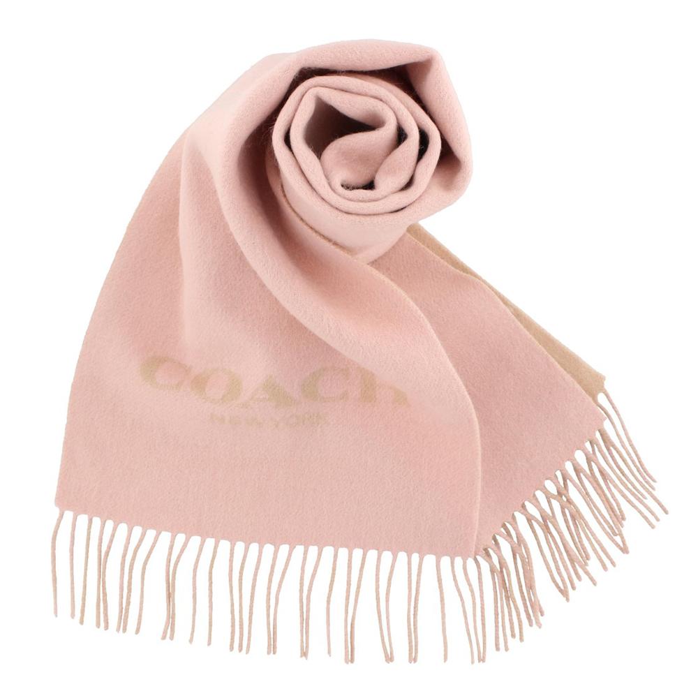 COACH 經典LOGO羊毛羊絨流蘇圍巾 粉色COACH