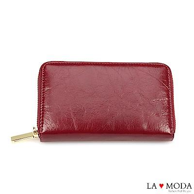 La Moda 出國旅行超安心 防盜刷防RFID偵測真皮牛皮大容量手機包護照夾長夾(梅紅)