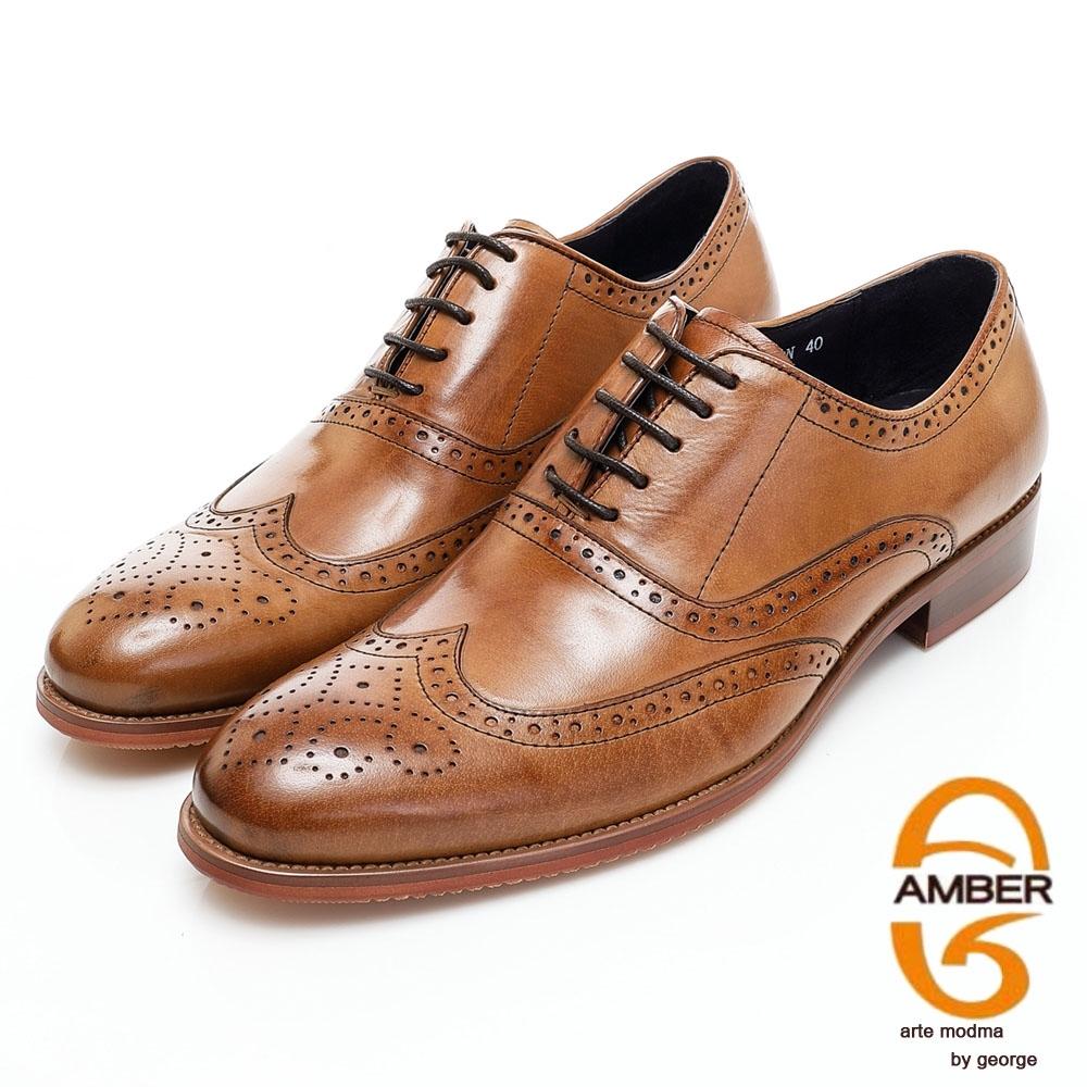 AMBER商務時尚經典綁帶雕花真皮牛津紳士鞋-咖啡色
