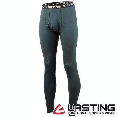 【LASTING捷克】男款美麗諾羊毛抗菌除臭透氣舒適薄內著保暖長褲LT-LEXY藍綠/貼身內搭