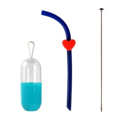 [Caldo卡朵生活]無感攜帶愛心矽膠吸管