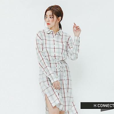 H:CONNECT 韓國品牌 女裝-格紋綁繩襯衫洋裝-紅