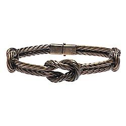 GUCCI 925純銀復古黃銅色繩結造型壓釦金屬手鐲/手環(#21)
