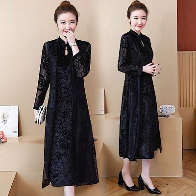 黑玫瑰絲絨改良式旗袍兩件套裝M-3XL-REKO