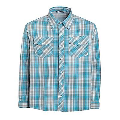 瑞多仕 男款 長袖彈性休閒格子襯衫_DA2361 海藍色/灰色格