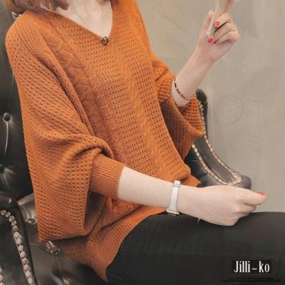 JILLI-KO 簍空勾織寬版針織衫- 杏/焦糖