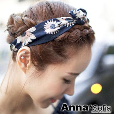 AnnaSofia 向陽雛菊款 軟布質兔耳髮帶髮圈(深藍系)