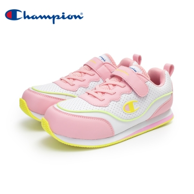 【Champion】SOUND WAVE 復古慢跑鞋 大童鞋-白/粉/黃(KFLS-0384-05)
