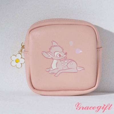 Disney collection by gracegift-迪士尼櫻花粉嫩方形零錢包 粉橘