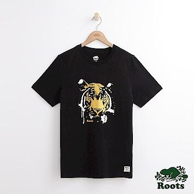 Roots 男裝-獸首短袖T恤-黑色