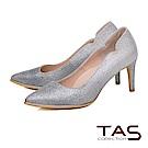 TAS 美型側v亮粉金屬邊條高跟鞋-閃耀藍