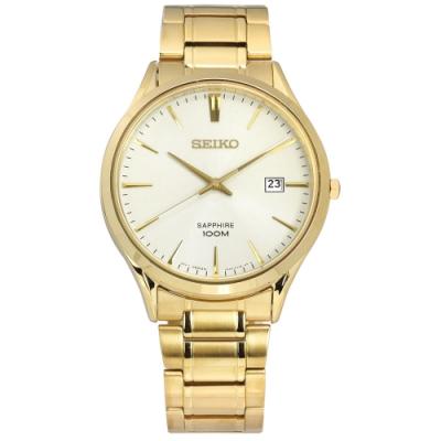 SEIKO 精工 經典簡約 藍寶石水晶玻璃 防水100米 不鏽鋼手錶-淺黃x鍍金/40mm