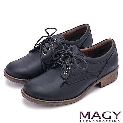 MAGY 復古潮流 經典綁帶牛皮低跟鞋-黑色