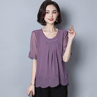 ALLK 繡花雪紡上衣 紫色(尺寸M-XXL)