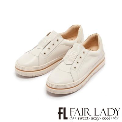 FAIR LADY Soft Power 軟實力 潮流拼色無鞋帶厚底小白鞋 流沙金