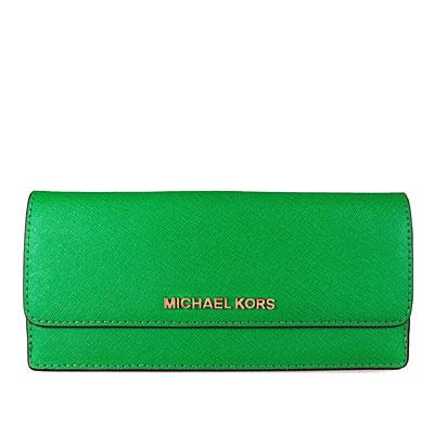 MICHAEL KORS JET SET TRAVEL金字Logo皮革薄型長夾(棕櫚綠色)