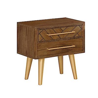 文創集 亞凱德時尚1.7尺木紋床頭櫃/收納櫃-50x40x55.5cm免組