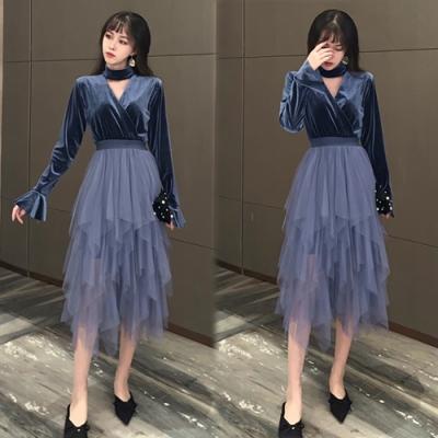 【韓國K.W.】甜心女孩雪紡收腰修身洋裝-2色