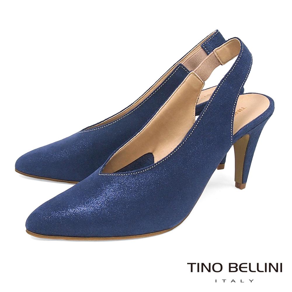 Tino Bellini 義大利進口V型深楦尖頭跟鞋 _ 藍