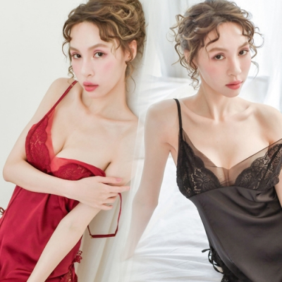 性趣睡衣-性感蕾絲側開柔膚睡裙-EM衣柔魅姬-紅色