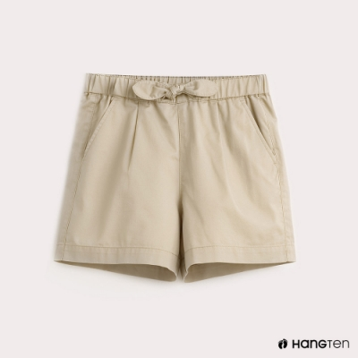 Hang Ten-童裝純色綁結百慕達褲-卡其