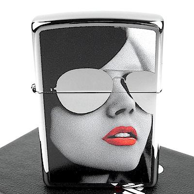 ZIPPO 美系~Woman in Sunglasses-墨鏡女孩圖案打火機