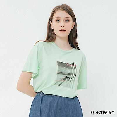 Hang Ten - 女裝 - 純色個性照片短T - 綠