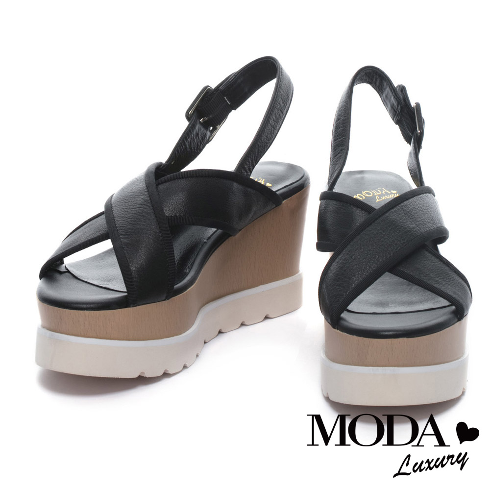 涼鞋 MODA Luxury 質感清新交叉帶牛皮厚底楔型涼鞋-黑