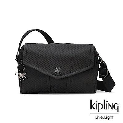 Kipling 內斂霧黑壓紋大容量掀蓋側背包-READY NOW S