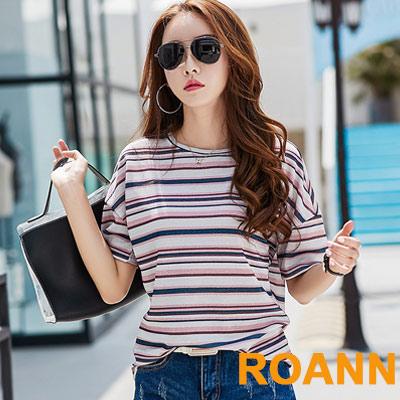 圓領撞色拼接條紋亮絲短袖T恤 (共二色)-ROANN