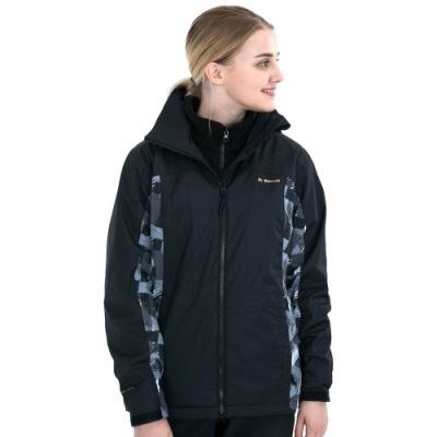 【St. Bonalt 聖伯納】女款兩件式4in1內刷毛衝鋒衣 (7254-黑色編紋) 防風 防水 保暖 透氣 耐磨