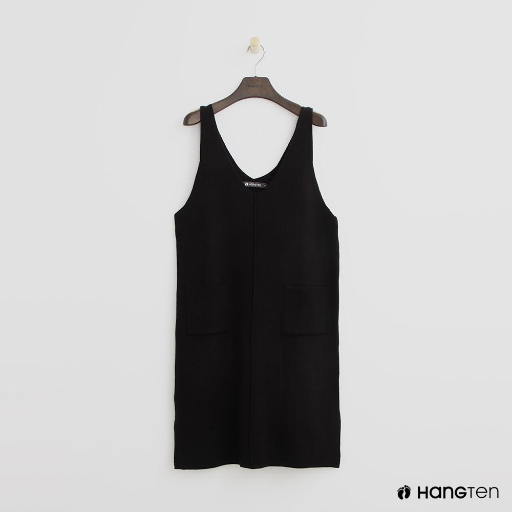 Hang Ten - 女裝 - 雙口袋針織背心洋裝-黑 @ Y!購物