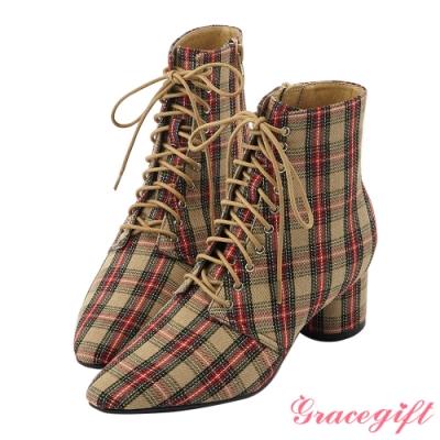Grace gift X Rui-聯名綁帶尖頭中跟短靴 格紋