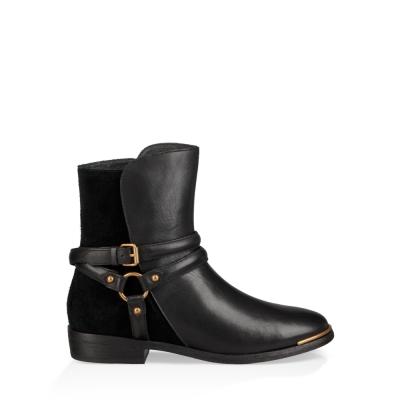 UGG短靴 Kelby金屬扣帶短靴 絨面及踝皮靴