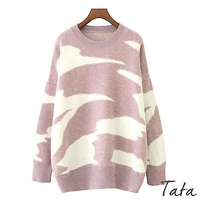 不規則區塊寬鬆針織上衣 TATA