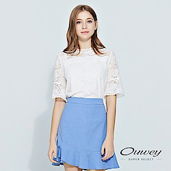 OUWEY歐薇 造型五分袖花草蕾絲小立領上衣(白)